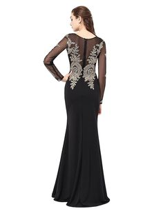 5b7277a155 Anmor Women s Long Sleeve Illusion Neckline Evening Dress Mother of the  Bride Groom Gowns Black US24W at Amazon Women s Clothing store