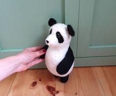 Panda Music Box Panda bear toy needle felted soft toy musical