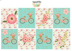 Florals and Bicycle Planner Sticker Set by SugaryGaLShop on Etsy
