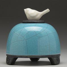 Ceramic  Bird Jar, turquoise,Art pottery,raku jar, Small Pet urn, handmade,home decor