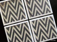 Chevron Coasters Black Chevron Tile Coaster Tile by KimLKrafts