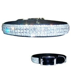 Our Superstar Velvet bling dog collar is so sparkly! Made of quality nylon with sewn on rich Swiss velvet, this fabulous, beautiful collar is richly decorated with clear genuine crystals in 2 different sizes and is made for medium to large dogs.
