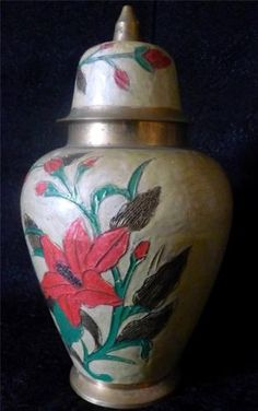 """Vtg Etched Enamel On Brass Ginger Jar Pink Flowers & Leaf Design 6"""" X 11"""" Check more at https://thewildpetunia.com/store/asian-collectibles/vtg-etched-enamel-on-brass-ginger-jar-pink-flowers-leaf-design-6-x-11/"""