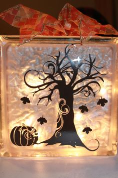 Fall Decor Glass Block with Vinyl and Lights by WorldofAKD on Etsy, $20.00
