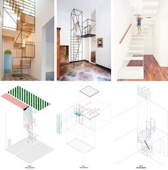 three casa design by Francesco Librizzi studio, especially focus on the stair and colors used on creating paving patterns.