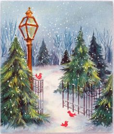 #459 50s Hallmark Birds in the Snow-Vintage Christmas Greeting Card
