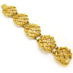 Vintage Signed Sphinx Gold Tone Cross Over Waffle Bracelet | Clarice Jewellery | Vintage Costume Jewellery