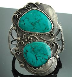Vintage Silver Cuff Bracelet - Sterling Silver and Turquoise