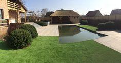 Landelijke tuin met kunstgras.