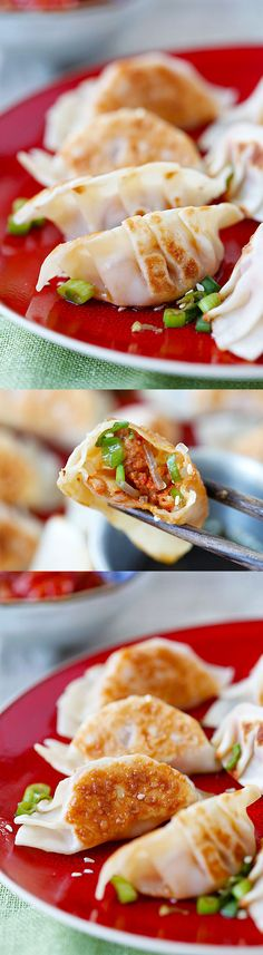 Kimchi Dumplings - Spice up your dumplings by adding kimchi to make juicy, plump and delicious dumplings that you just can't stop eating!! | rasamalaysia.com