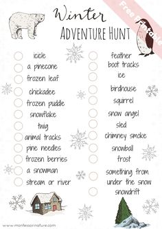 Winter Adventure hunt for kids | Fun way to explore nature with winter scavenger hunt | It is a subscriber freebie - sign up and get access to Montessori Educational Printables