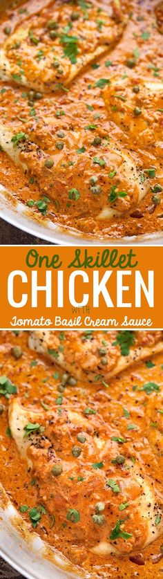 One Skillet Chicken with Tomato Basil Cream Sauce - Easy one skillet chicken dinner, ready in 30 minutes! #chickendinner #skilletchicken #roastedchicken | http://Littlespicejar.com