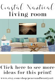 This Large, Modern, Coastal, Nautical, Seascape, Ocean Art Features The  Warm. More Information