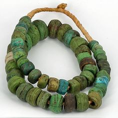 Antique Green Hebron Glass Beads