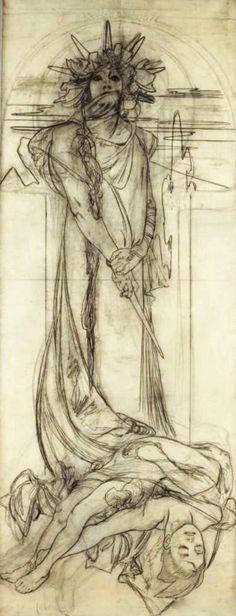 """Projet d'affiche pour """"Sarah Bernhardt en Médée"""" // by Alphonse Mucha"""