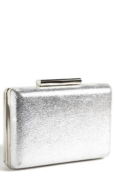 $78, Metallic Leather Box Clutch Distressed Silver by ROYALE CHIC. Sold by Nordstrom. Click for more info: http://lookastic.com/women/shop_items/116129/redirect