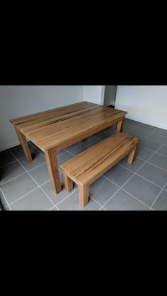 Solid Messmate timber dining table with matching bench seat