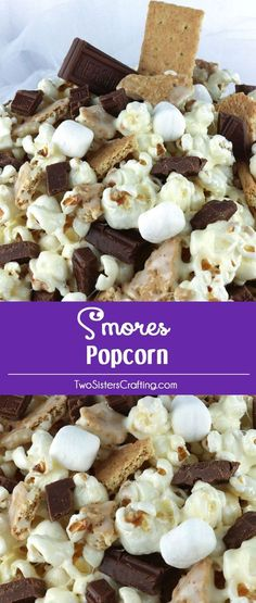 S'mores Popcorn - salty popcorn, sweet marshmallow, crunchy graham crackers and don't forget the chocolate. Mmm .. mmm good. And who doesn't love a Smore? This is a yummy sweet popcorn treat that your family will love at the next movie night. Pin this fun and easy dessert for later and follow us for more great Popcorn Recipes.