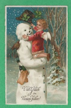 MSIB Fantasy BIRD on a SNOWMAN w/a HAT, GLOVES, CHAMPAGNE & an ANGEL in his ARMS