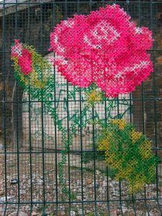 Cross stitched fence - genius