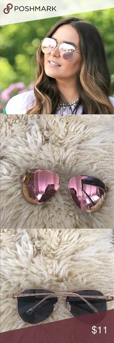 2f26a7f4a3c Shop Women s Pink Gold size OS Sunglasses at a discounted price at  Poshmark. Description  Cute tinted pink aviator sunglasses with gold arms  and frames!