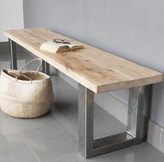 Vinterior is the online marketplace where the world buys and sells remarkable vintage and antique furniture across every lifestyle, budget and taste. Industrial Bench, Industrial Furniture, Metal And Wood Bench, Wood Wood, Large Furniture, Furniture Design, Entry Bench, Bench With Shoe Storage, Wooden Tops
