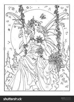enchanted fairy coloring page : Shutterstock 442203655