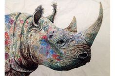 Black Rhino - Sophie Standing Art | Sophie Standing Art | Textile embroidery art from Africa
