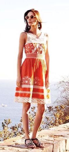 812b88a5d544 MOULINETTE SOEURS ANTHROPOLOGIE Orange Embroidered Lace Aniko Dress Size 14   MoulinetteSoeurs  SundressSheath  Casual
