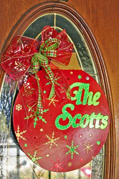 I added this #personalized #Christmas #ornament shaped #door hanger / #wreath to my #Etsy shop.