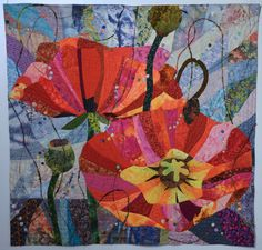 """""""French impressions: Poppies in Provence"""" by Lin Hsin-Chen, Taiwan.  Photo by Mary & Patch: Carrefour Européen du Patchwork, St-Marie aux Mines, France /7"""