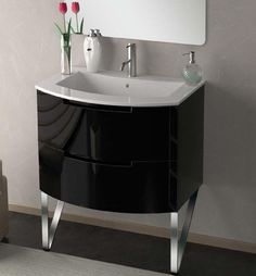 29 inch Modern Floating Bathroom Vanity Black Glossy Finish with 2 slow close drawers, Integrate Sink Top Contemporary Kitchen Interior, Bathroom Styling, Vintage Laundry Room, Floating Bathroom Vanities, Floating Vanity, Italian Bathroom, Modern Bathroom Vanity, Master Bath Design, Bathroom