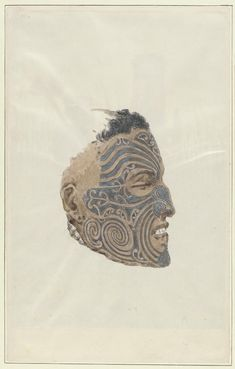 Tattooed Maori face, New Zealand, 5 [picture] - Part of Robley, Horatio Gordon, 1840-1930. Maoris, New Zealand, 1864-1896