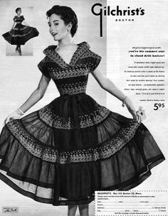 A wonderful 1950s dress from Gilchrist's. #vintage #fashion #ads