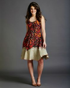 Coral Floral Dress with A-Line Skirt