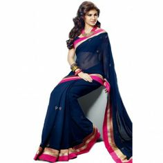 #Designer Suit #Party Wear Saree Shop now : http://www.valehri.com/royal-blue-with-pink-border-saree-with-unstiched-bloue-1586