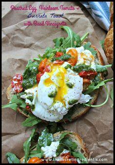 Poached Egg, Heirloom Tomato & Burrata Toast with Basil Vinaigrette