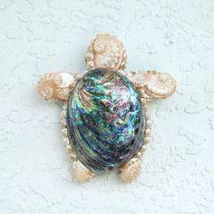 Turtle Art Sea Turtle Seashells Wall Hanging by SandisShellscapes, $36.00
