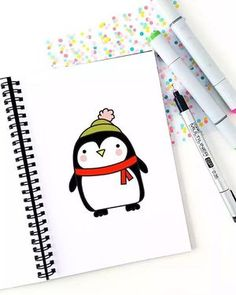 The next #christmas instalment of my #52weeksofhowtodraw is up on the blog! Learn to draw this sweet little Christmas penguin with his little red scarf and adorable winter beanie. #drawing #doodle