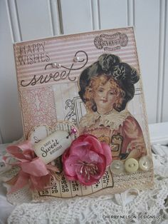 shabby chic birthday card- victorian girl happy wishes sweet have a sweet birthday card- handmade card