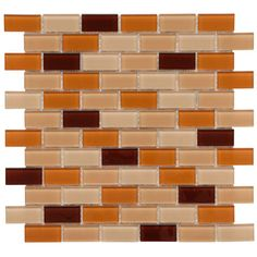 Merola Tile Spectrum Cafe 11-3/4 in. x 11-3/4 in. x 5 mm Glass Mosaic Tile, Orange/Peach And Burgundy/High Sheen