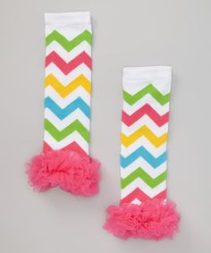 Another great find on #zulily! Green, Pink & Blue Chevron Ruffle Leg Warmers by Miss Fancy Pants #zulilyfinds