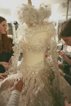 Haute Couture in the Making - finishing touches on a couture gown; fashion design behind the scenes; backstage fashion // Alexander McQueen