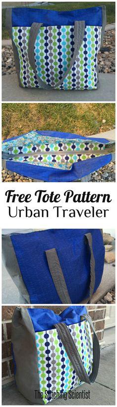 Urban Traveler Tote Bag Pattern #freebagpattern