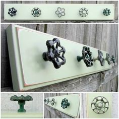 to Ship / Coat Rack with Green Valve Handle Hooks / Pale Green Salvaged Board with Five ( 5 ) Garden Faucet Hooks Perchero con balvulasPerchero con balvulas Coat Hanger, Coat Hooks, Towel Hooks, Wall Hooks, Diy Hooks, Home Projects, Wood Crafts, Diy Furniture, Door Handles