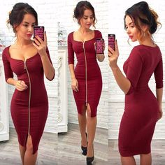 Women Sexy Club Low Cut Bodycon Dress Red Velvet Sheath 2018 Casual Autumn Winter Zipper Fashion Party Dresses Black Office Work Brand Name: LOSSKY Material: Polyester Style: Sexy Club Silhouette: Sheath Pattern Type: Solid Sleeve Length(cm): . Low Cut Dresses, Knee Length Dresses, Club Dresses, Sexy Dresses, Fashion Dresses, Party Dresses, Summer Dresses, Velvet Bodycon Dress, Red Velvet Dress