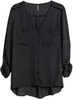 H&M Chiffon Blouse - Black - Ladies on shopstyle.com