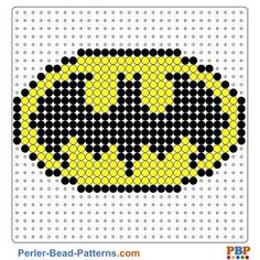 Batman Shield perler bead pattern. Download a great collection of free PDF templates for your perler beads at perler-bead-patterns.com
