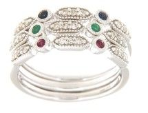 3-pc Sapphire/Ruby/Emerald Stackable Ring Set in 14K White Gold | 423477