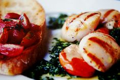 5-2 Diet Recipe; Scallops with Rocket Pesto and Ciabatta Toast